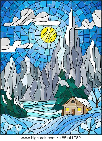 Illustration in stained glass style with a lonely house on a background of snowy pine forests lake mountains and day-Sunny sky with cloudswinter landscape
