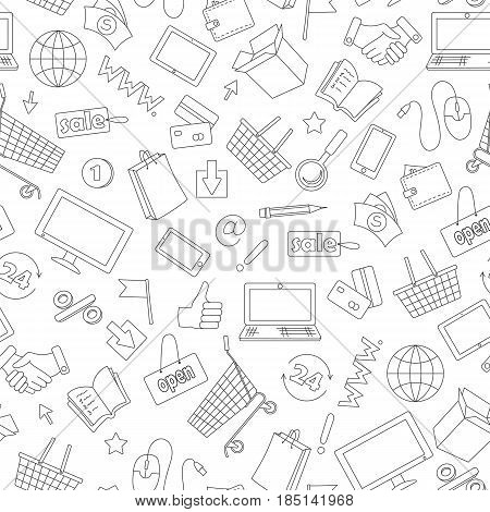 Seamless pattern on the theme of online shopping and Internet shops dark contour icons on white background