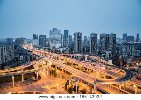 city interchange closeup in nightfall beautiful chengdu cityscape