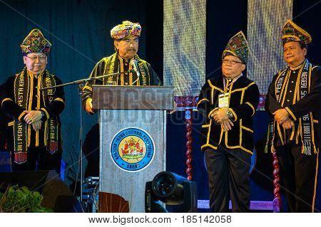 Kota Kinabalu,Sabah-May 31,2016:Sabah Chief Minister,Datuk Seri Musa Aman giving speech to officially open the Sabah state level Kaamatan Festival 2016 at KDCA Penampang,Sabah,Borneo.