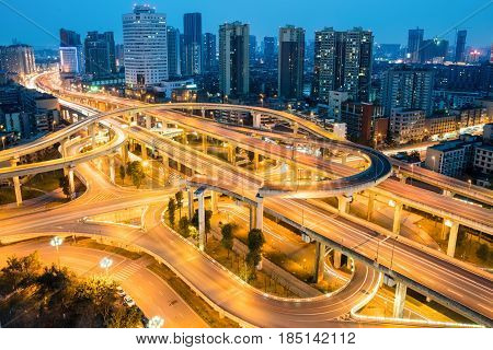 city overpass at night flyover or viaduct in chengdu