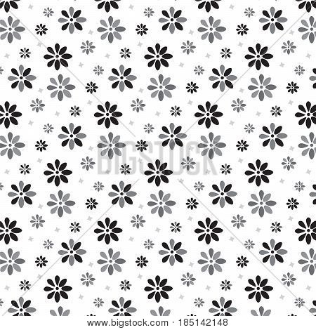 black and silver shade flower scattered with little star pattern background vector illustration image