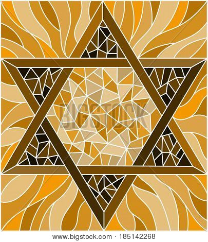 Illustration in stained glass style with an abstract six-pointed star brown tone sepia