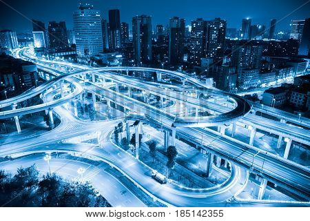 city overpass closeup in chengdu at night blue flyover or viaduct