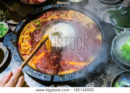 chengdu hot pot sichuan chafing dish it was very popular in the region of sichuan and chongqing but later it has spread all over the country and become favored by the whole china