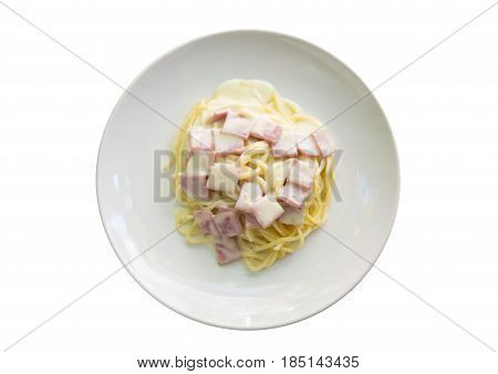 Spaghetti Carbonara with bacon isolated on white background.