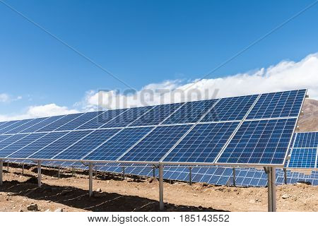 photovoltaic power station on tibetan plateau solar energy panels closeup with sunny sky