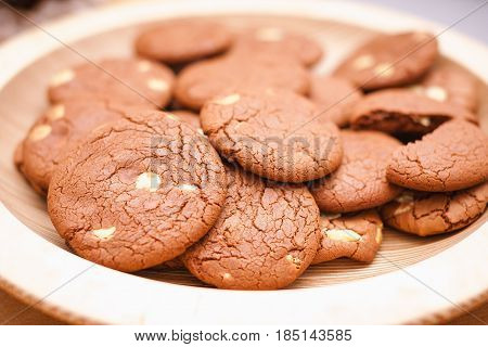 home baked chocolate brown cookies on a plate