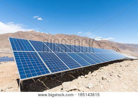 photovoltaic power station on tibetan plateau closeup of solar energy panels with sunny sky
