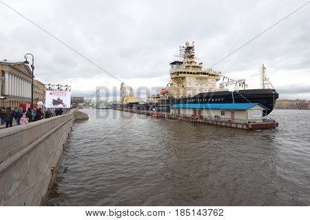 ST PETERSBURG, RUSSIA - APRIL 30, 2016: Fourth Annual Icebreaker Festival in St. Petersburg. Two icebreakers off the English pier