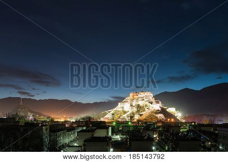 overlook of the potala palace at night in lhasa city tibet autonomous region China