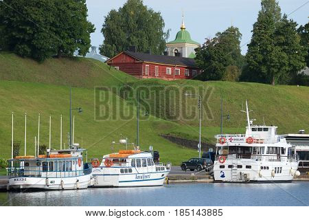 LAPPEENRANTA, FINLAND - AUGUST 21, 2016: The redoubts of the ancient fortress of Lappeenranta on the morning of August