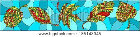 Illustration in stained glass style with patterned autumn leaves on turquoise background horizontal orientation