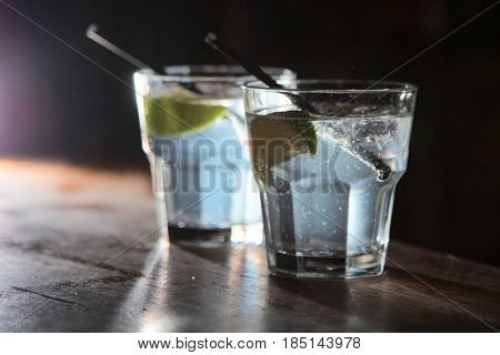 two alcoholic gin and tonic in the bar. Cocktail