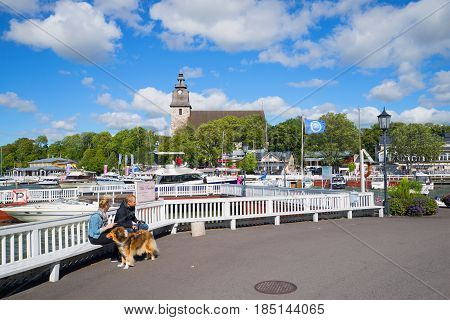 NAANTALI, FINLAND - AUGUST 27, 2016: A windy August day in the central square of the old town of Naantali
