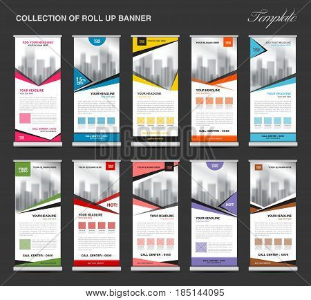 Collection of colorful Roll Up Banner stand template set business flyer advertisement display layout x-banner and flag-banner pull up polygon background