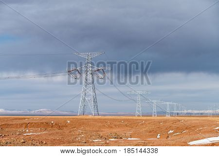 extreme high voltage power transmission towers on tibet plateau
