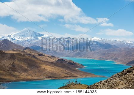 overlook snow mountain and holy lake in tibet
