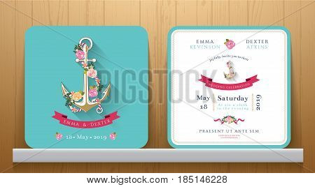 Nautical wedding invitation card with floral and anchor on Wood Background