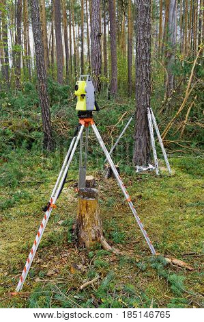 Surveying instruments are used in the forest