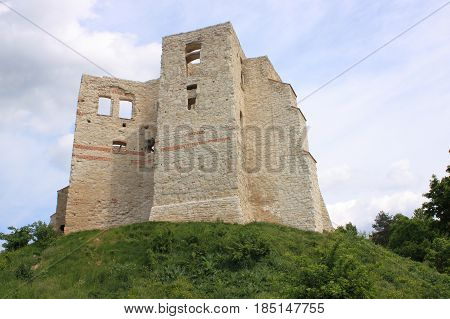 Ruins of the castle in Kazimierz Dolny on the Vistula River (Poland). The defensive fortifications of Kazimierz Dolny were built at the turn of the 13th and 14th centuries. The castle was erected in the middle of the 14th century at the behest of Kazimier poster