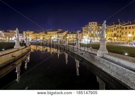 view of prato della valle square by night Padua Italy