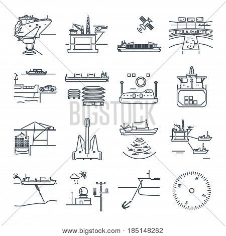set of thin line icons water transport and sea port oil platform dry cargo ship bulk carrier