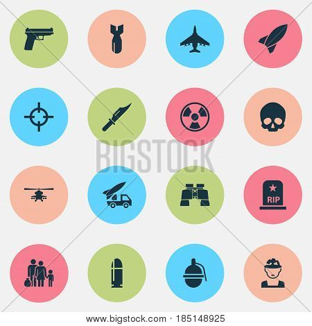 Army Icons Set. Collection Of Aircraft, Missile, Ordnance And Other Elements. Also Includes Symbols Such As Soldier, Rip, People.