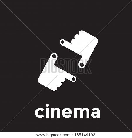 Vector abstract linear cinema and filmmaker, isolated illustration on black