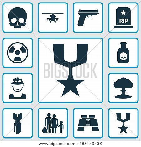 Combat Icons Set. Collection Of Weapons, Glass, Cranium And Other Elements. Also Includes Symbols Such As Fatal, Grave, Rip.