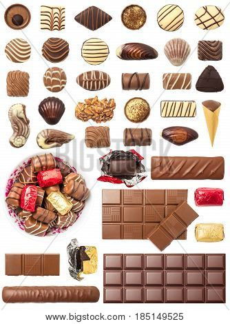 Chocolate Pralines and Tablets Isolated on White Background. Contain a set of pralines chocolate bar and tablet.