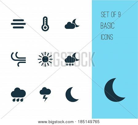 Nature Icons Set. Collection Of Rainy, Moon, Night And Other Elements. Also Includes Symbols Such As Drop, Thermometer, Moonlight.