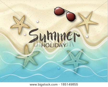 Hello summer. Background with starfish and sunglasses on the sand.Ocean and waves. Vector illustration eps 10 format. Vector illustration template banners. Wallpaper flyers invitation posters