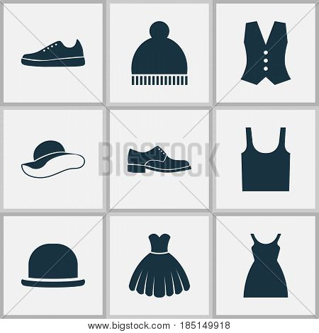 Garment Icons Set. Collection Of Dress, Elegance, Sarafan And Other Elements. Also Includes Symbols Such As Waistcoat, Fedora, Shoes.