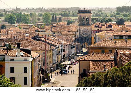 tower town aerial Este village Padua province Veneto region Italy
