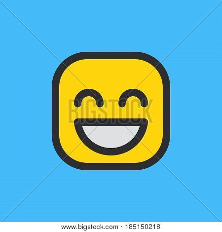 Grinning Face With Smiling Eyes emoji. Filled outline icon colorful vector emoticon