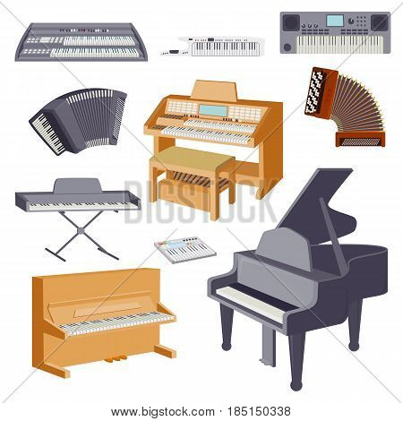 Keyboard musical instruments isolated classical melody studio acoustic shiny musician equipment and orchestra piano composer electronic sound vector tool. Classic song chord concert entertainment.