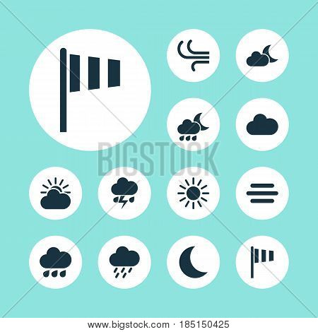 Meteorology Icons Set. Collection Of Nightly, Sun, Sun-Cloud And Other Elements. Also Includes Symbols Such As Cloud, Fog, Sunny.