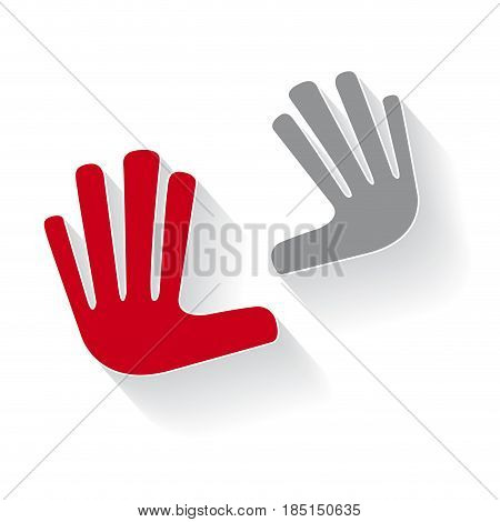 Vector hands touching, isolated illustration on white