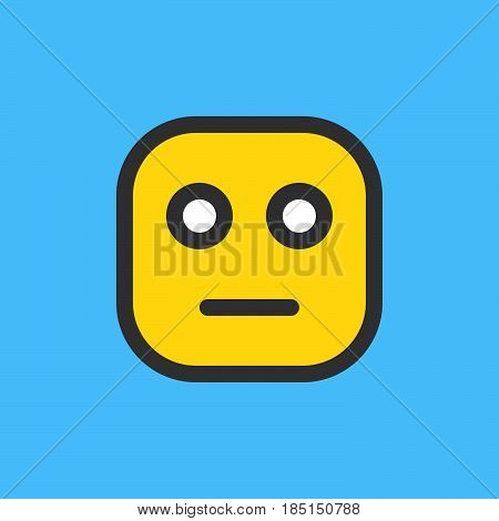 Neutral Face emoji. Filled outline icon colorful vector emoticon