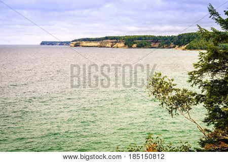 Lake Superior coastline at Pictured Rocks National Lakeshore on Upper Peninsula, Michigan