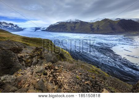 Scenic view of Fjallsarlon glacier and lagoon in the south of Iceland