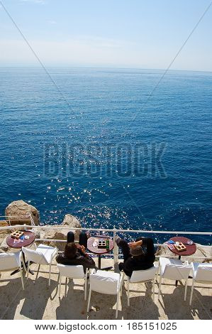 26 may 2009-dubrovnivk-croazia-View of the Tyrrhenian Sea from the balcony of a dubrovnik bar in croatia