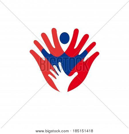 Solidarity concept hand and child, isolated illustration on white