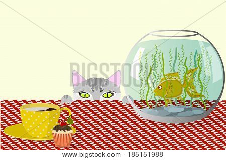 The cat watches the fish in the aquarium standing on the table, a cup of coffee with cream and a cupcake on a checkered tablecloth, vector illustration