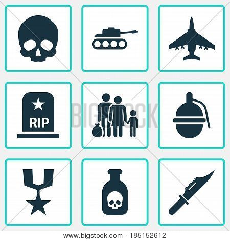 Combat Icons Set. Collection Of Aircraft, Bombshell, Cranium And Other Elements. Also Includes Symbols Such As Nuclear, Tomb, Grenade.