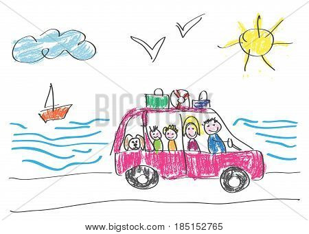 Vector drawing made by a child happy family that goes on vacation to the sea by car