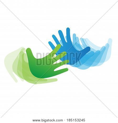 Vector sign concept of solidarity hands touching