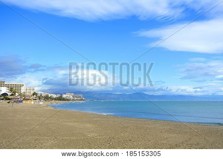 A Beach Of Costa Del Sol Before A Tourist Season, Mediterranean Sea And A View To Torremolinos Town,