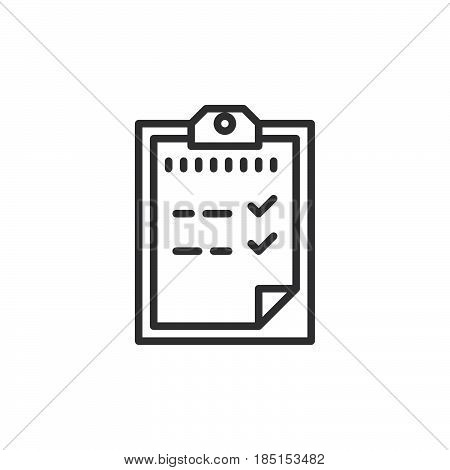 Clipboard outline icon line vector sign linear style pictogram isolated on white. Passed test symbol logo illustration. Editable stroke. Pixel perfect